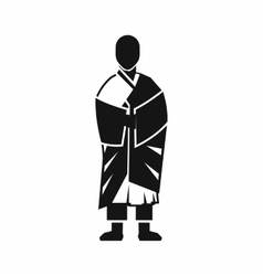 Buddhist monk icon simple style vector image