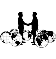 Business people agreement global handshake vector