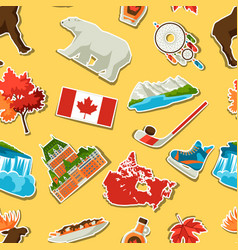 Canada sticker seamless pattern vector