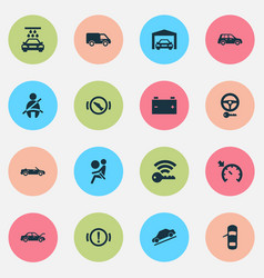 car icons set with vehicle wash key hill descent vector image