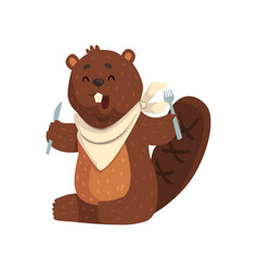 Cartoon beaver with fork and knife in paws ready vector