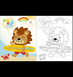 cartoon funny lion with a surboard coloring vector image