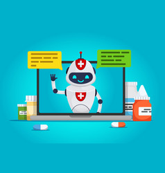Chat bot online doctor vector