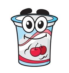 Cherry yoghurt milk or cream cartoon character vector