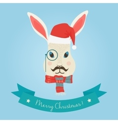 Christmas cute forest hare bunny rabbit head logo vector image