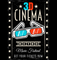 cinema retro poster with 3d glasses vector image
