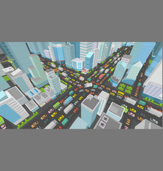 city street intersection traffic jams road 3d vector image