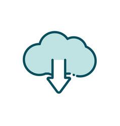 cloud computing download arrow data social media vector image