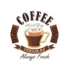 coffee shop symbol with espresso and chocolate vector image