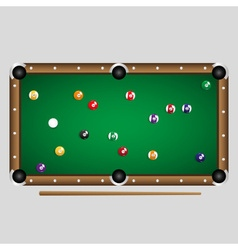 Complete set of color billiards balls on the table vector