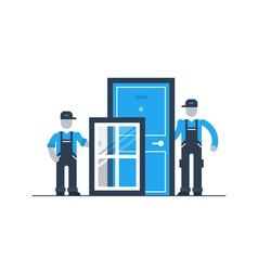 Construction workers with window frame and door vector