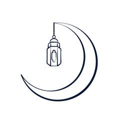 crescent lantern outline design vector image