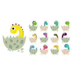 cute cartoon dinosaurs in eggs collection vector image