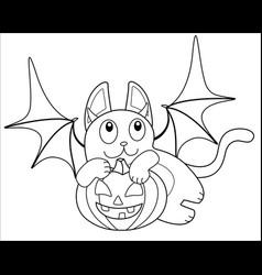 Cute cat in bat costume with pumpkin in paws vector