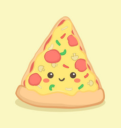 Cute pizza slice food cartoon face vector