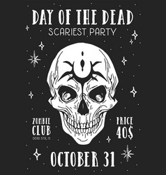 design flyer for halloween scary party poster vector image
