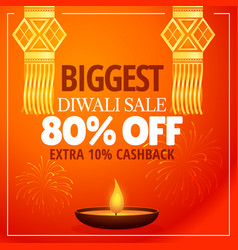 diwali sale offer with hanging lamps diya and vector image