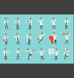 doctor work process set of hospital related scenes vector image