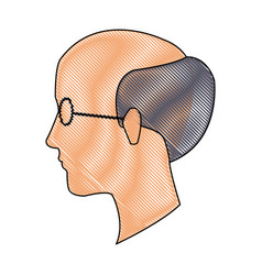Drawing head profile man adult bald glasses vector