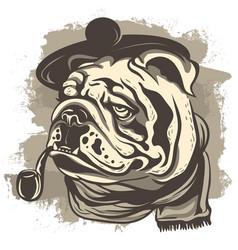 drawing of a bulldog detective wearing a cap vector image