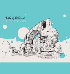 drawing sketch arch galerius vector image