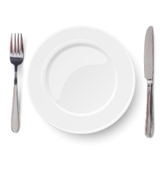 Empty plate with knife and fork isolated vector