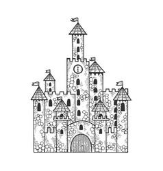 fairytale medieval castle sketch engraving vector image