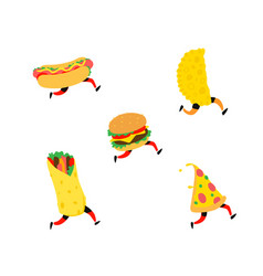fast food characters hamburger pizza hot dog vector image