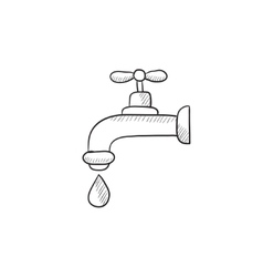 Faucet with water drop sketch icon vector image