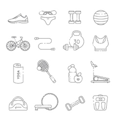 Fitness Gym Line Icon Set vector image