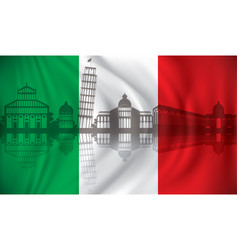 Flag of italy with pisa skyline vector