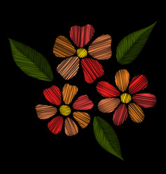 floral embroidery stitches with flowers and vector image