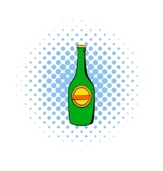 Green bottle of beer icon comics style vector image
