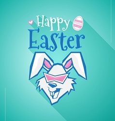 Happy Easter rabbit with long shadow vector image