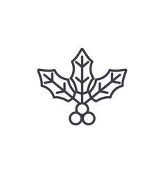 holly flower line icon concept holly flower flat vector image