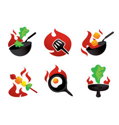 hot cook on fire graphic element vector image
