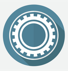 icon gears on white circle with a long shadow vector image