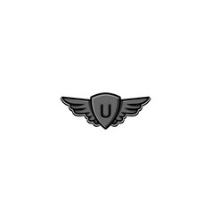 Letter u initial logo wing and badge shield vector