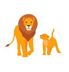 lion and son family happy vector image