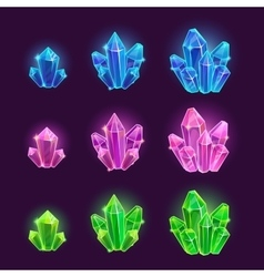Magic cartoon shiny crystals set vector