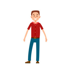 Man in casual cloth wears checkered t-shirt jeans vector