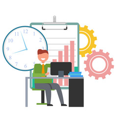 man working with desktop computer at office vector image