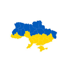 map and flag ukraine with divisions isolated vector image