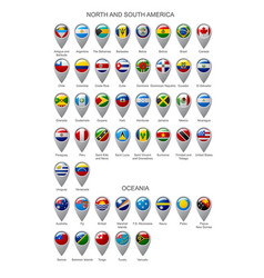 map marker set with flags of north and south vector image