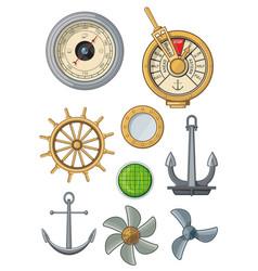 marine nautical ship anchor icons sailing symbols vector image