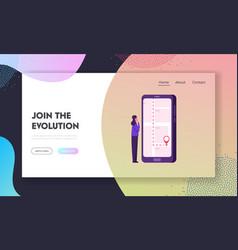 Mobile navigation website landing page girl using vector