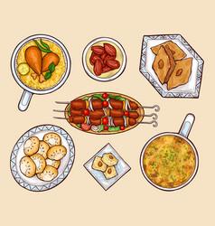 Oriental cuisine dishes cartoon set vector