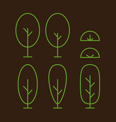 Oval and elips outline tree and bush plant vector