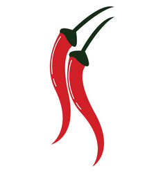 Painting a pair red chilies with a white vector