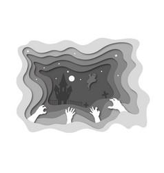 Paper cut halloween backgrounds zombie hands vector